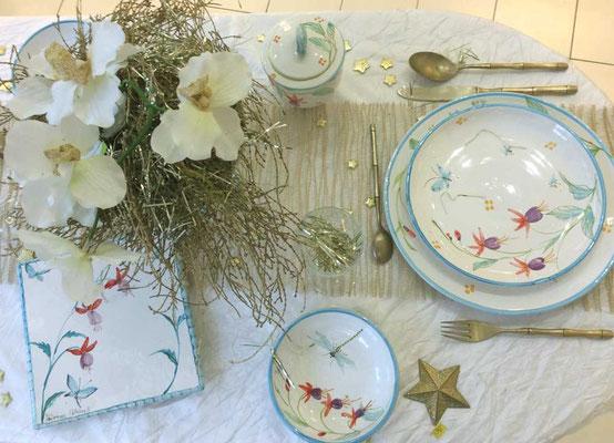 Table de Noël, décor Fuchsia.
