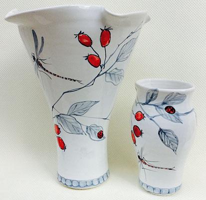 Vase corolle et petit vase en décor Earl Grey.