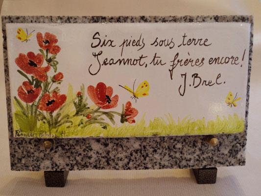 Plaque de cimetière en lave émaillée 15 x 25 cm. Montée sur support en marbre.