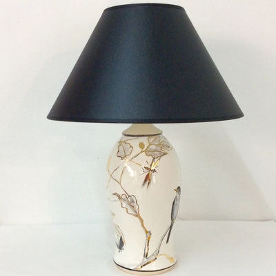 Small table lamp . Grey, pearl and gold decoration with birds.