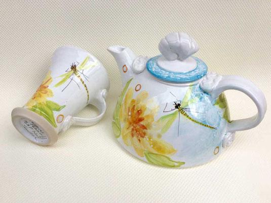 Petite théière et mug, décor Opale.