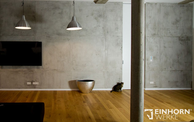 EINHORN WERKE ®  TORINO BETON, Betonoptik, Wandgestaltung, Beton imi tation, Hersteller Exklusiver Wandbeschichtung