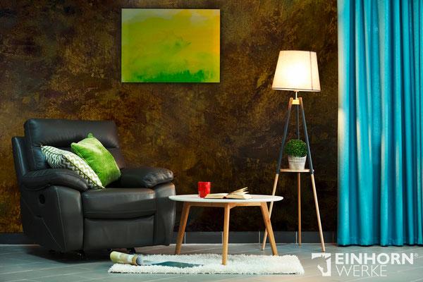 Wohnzimmer mit Rost Wand