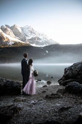 Hochzeitsfotografin München Murnau Weilheim Garmisch Hochzeit Heiraten Paarshooting Eibsee Grainau Sonnenuntergang Hochzeitsshooting Brautpaarshooting Brautpaarfotografie