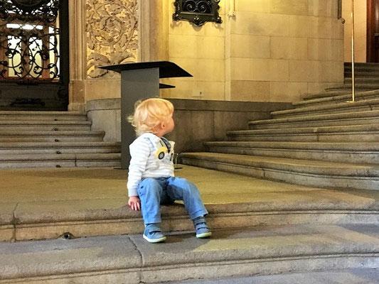 Samu schaut sich im Rathaus um