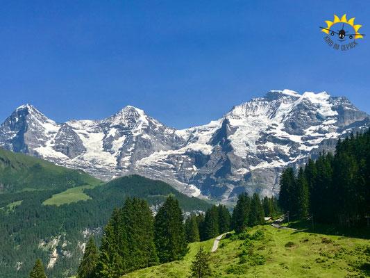 Eiger, Mönch, Jungfrau auf dem Wanderweg von Winteregg zur Grütschalp.