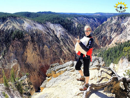 Wanderung am Grand Canyon des Yellowstone Nationalpark.