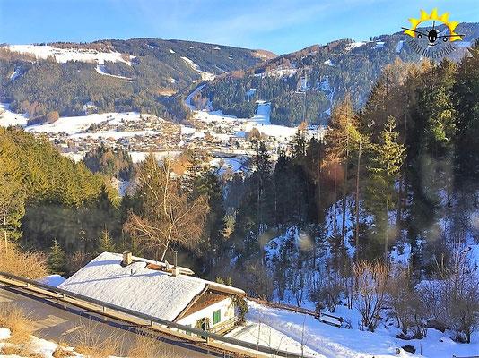 Ausblick ins Tal von der Stubaitalbahn aus.
