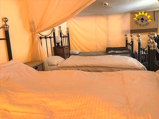 Die Betten im Safarizelt in Lauterbrunnen.