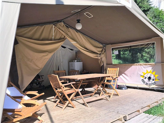 Terrasse des Eurocamp - Safarizelt.