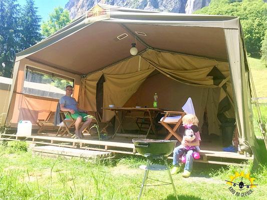 Das Safarizelt von Eurocamp in Lauterbrunnen.