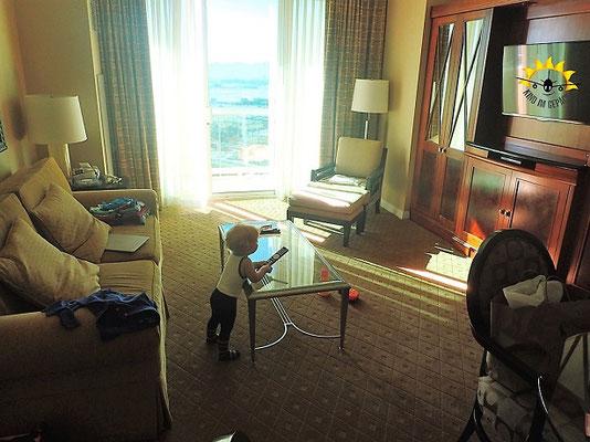 Kindim Gepäck im Wohnzimmer im MGM Signature