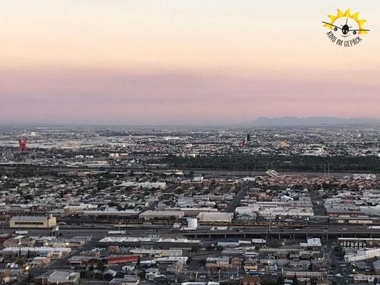 El Paso und Ciudad Cuarez von oben