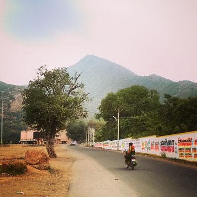 タミルナードゥの聖地、ティルバンナーマライ。ケーララから隣の州に来ると風景は一気に乾燥します。