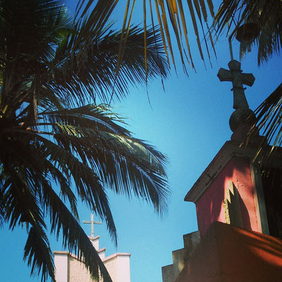 教会のシルエットと椰子の木。