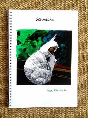 Schnecke, Beispiel gemalt mit Markern (Alcohol Ink)