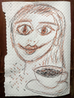 """Tapetenmalerei, """"Kaffee schwarz"""""""