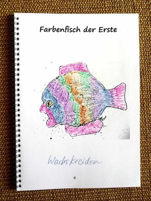 Farbenfisch der Erste, Beispiel gemalt mit Wachskreiden