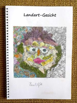 Landart-Gesicht, Beispiel coloriert mit Buntstiften