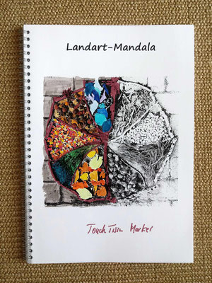 Landart Mandala, Beispiel coloriert mit Markern (Alcohol Ink)
