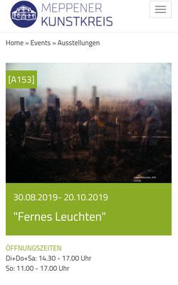 Exhibition ''Fernes Leuchten'' at the Kunstkreis Meppen, 2019