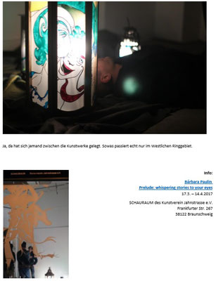 http://www.kult-tour-bs.de/kurz-und-knapp-das-dispositiv-der-erinnerung-barbara-paulin-im-schauraum/. Article of the Art Blog Kult-Tour BS, written by Stefanie Krause, 18/03/2017, page 3.