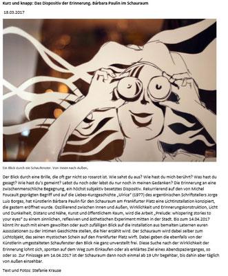 http://www.kult-tour-bs.de/kurz-und-knapp-das-dispositiv-der-erinnerung-barbara-paulin-im-schauraum/. Article of the Art Blog Kult-Tour BS, written by Stefanie Krause, 18/03/2017, page 1.