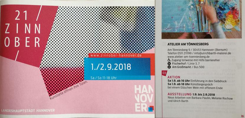 Exhibition at the studio Atelier am Tönniesberg, 21. Zinnober, Hannover, 2018