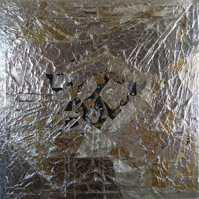 Explosion 破裂 acrylic,aluminum foil and metal on canvas.(900×900)
