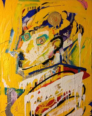Catharsis 夕陽の金の物悲しい洗浄を、いつまでも長く俺は眺めている acrylic on canvas.(800×1000)