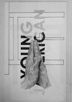 Prayers line お手手の皺と皺を合わせて重ねる親指は十字か? marker on paper.