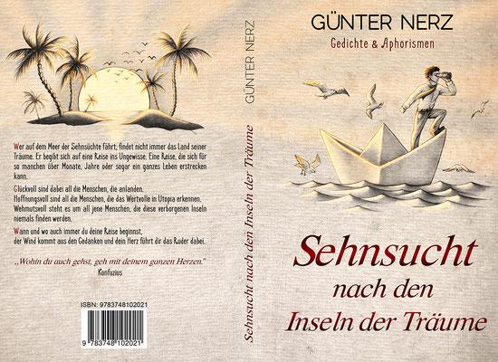 """Buchumschlagsgestaltung """" Sehnsucht nach den Inseln der Träume - Gedichte und Aphorismen"""" von Günter Nerz"""