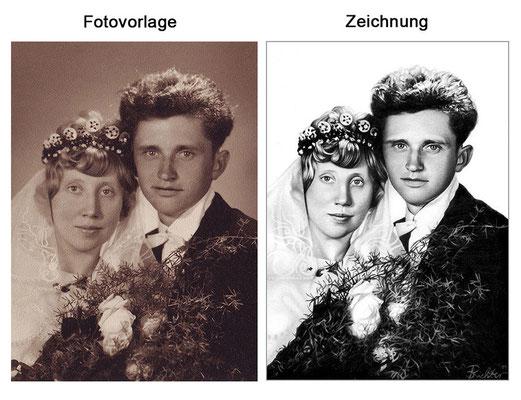 Hochzeitsportrait mit Kohle (Vorlage & Zeichnung)
