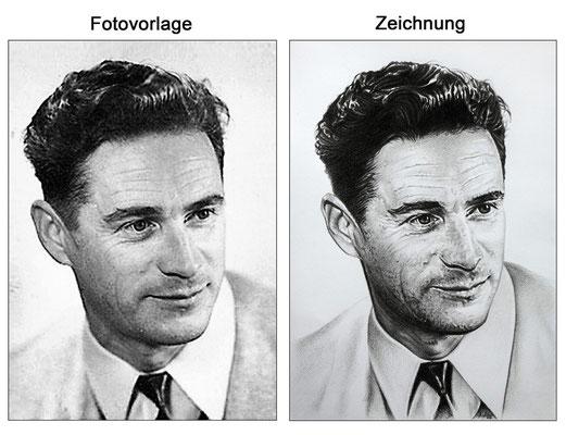 Portraitzeichnung eines Mannes mit Kohle (Vorlage & Zeichnung)
