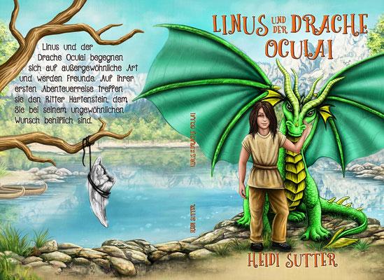 """Buchumschlagsgestaltung """" Linus und der Drache Oculai """" von Heidi Sutter / Kinderbuchcover Fantasy"""