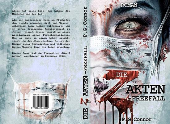 """Buchumschlagsgestaltung - Die Z-Akten """"Freefall"""" P.G. Connor  / Zombiebuchcover"""