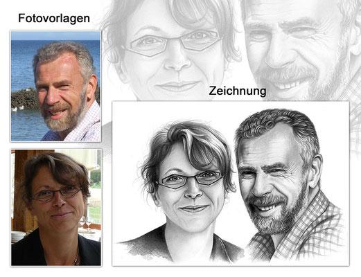 Portraitzeichnung eines Paares mit Bleistift (Vorlagen & Zeichnung)