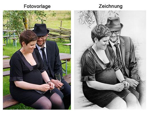 Portraitzeichnung eines Paares mit Kohle (Vorlage & Zeichnung)