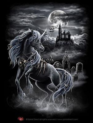Illustration für spiral / T-shirtdruck - dark unicorn © spiral direct all rights reserved / www.spiraldirect.com