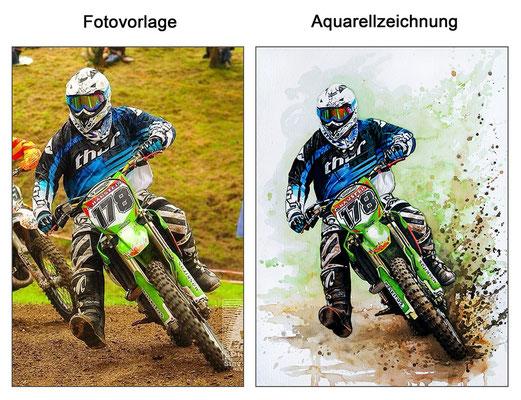 Aquarellzeichnung eines Motocrossfahrers (Aquarell & Aquarellstifte)