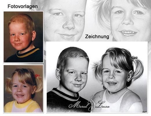 Portraitzeichnung von 2 Kindern mit Bleistift zusammengesetzt und mit Text (Vorlagen & Zeichnung)