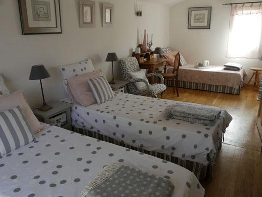 """chambre  """"fleur du soleil"""" en configuration 3 single beds"""