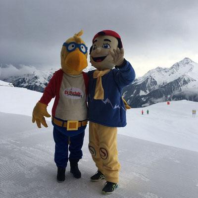 Finki und Stocki - die Skischulmaskottchen der Skischule Finkenberg und STOCK resort