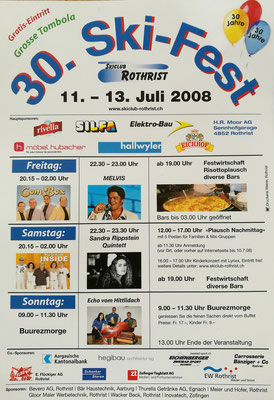 Melvis Plakat vom Ski Fest 2008