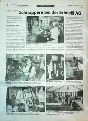 Zeitungsartikel von Auftritt beim Schnelli Fest in Birsfelden 12.04.2003