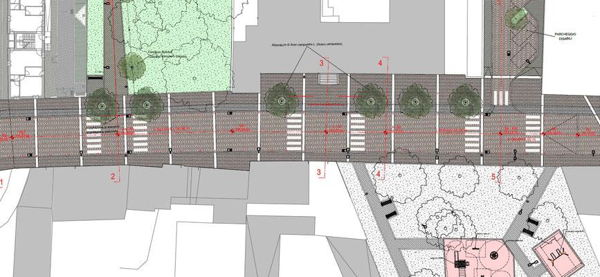 Viabilità e aree verdi via Sforzesca - Stralcio planimetrico