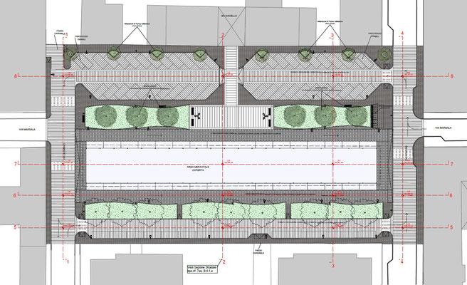 Viabilità e aree verdi piazza Pasteur - Planimetria pavimentazioni, verde e arredo urbano