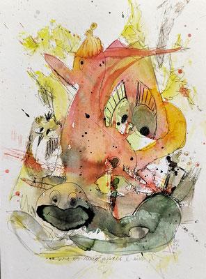 ...wie es mir gefällt 2 - eins/21_01 Aquarell/Fineliner auf Papier 32x24cm - Preis auf Anfrage