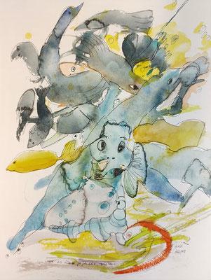 ...wie es mir gefällt 1 - sieben/20_148 Aquarell/Fineliner auf Papier 32x24cm - Preis auf Anfrage