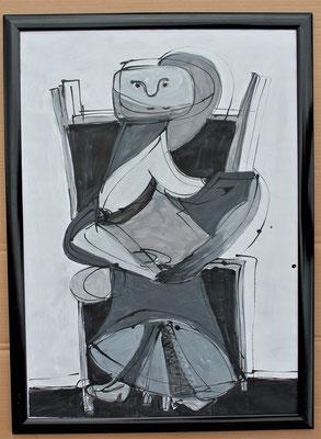 Frau auf Stuhl- Acryl auf Papier 70x50 cm Preis auf Anfrage